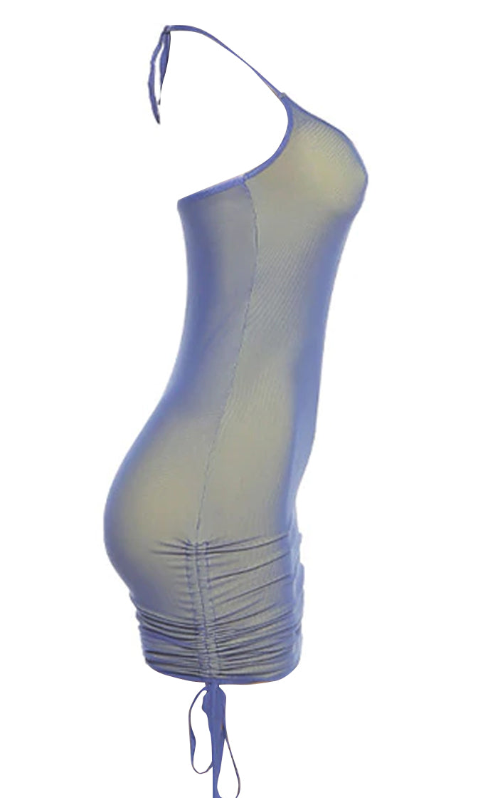 Iridescent Dreams Blue Sheer Mesh Sleeveless Spaghetti Strap Halter Side Ruched Drawstring Bodycon Mini Dress