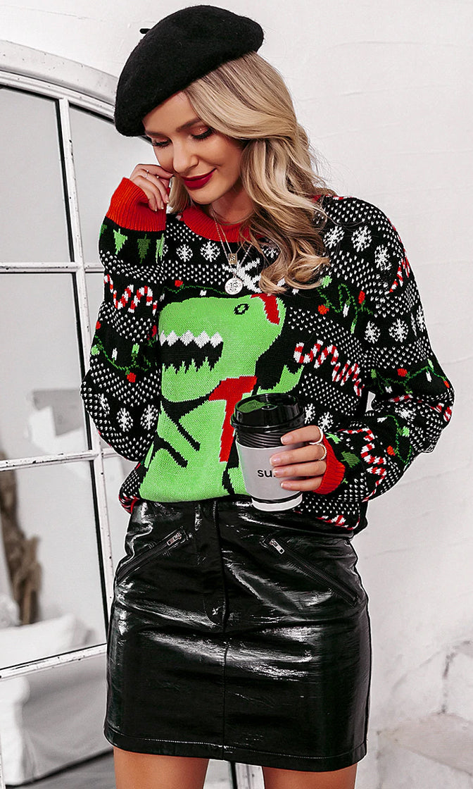 Deck The Halls Green Heart Reindeer XMAS Merry Christmas Pattern Long Sleeve Crew Neck Pullover Ugly Sweater
