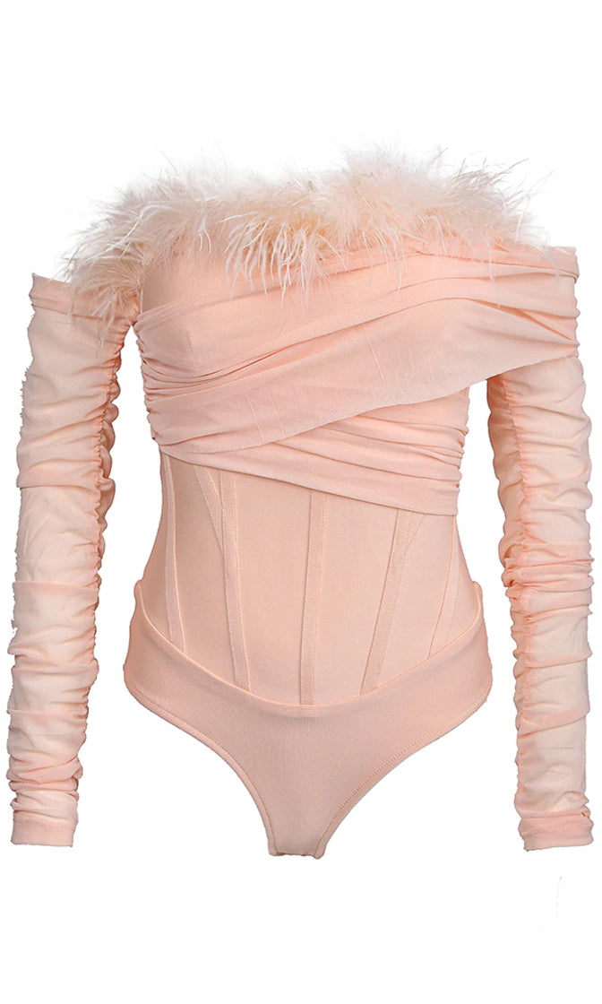He's Yours Pink Feather Long Sleeve Ruched Off The Shoulder Bandage Bodysuit Top