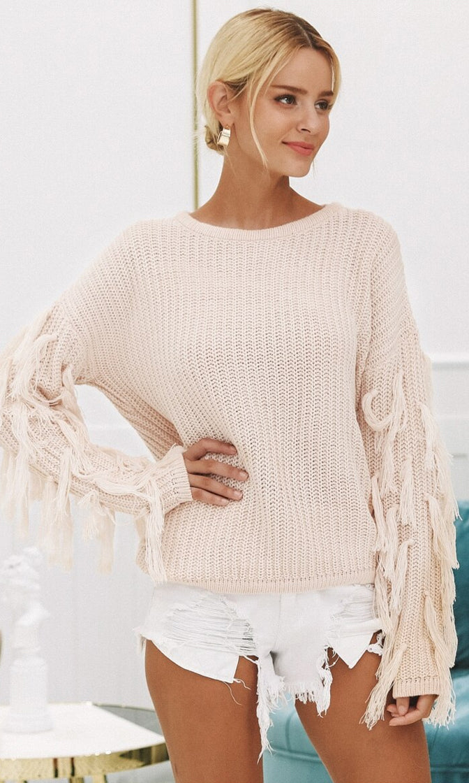 Don't Sweat It Long Sleeve Round Neck Fringe Tassel Pattern Pullover Sweater - 2 Colors Available
