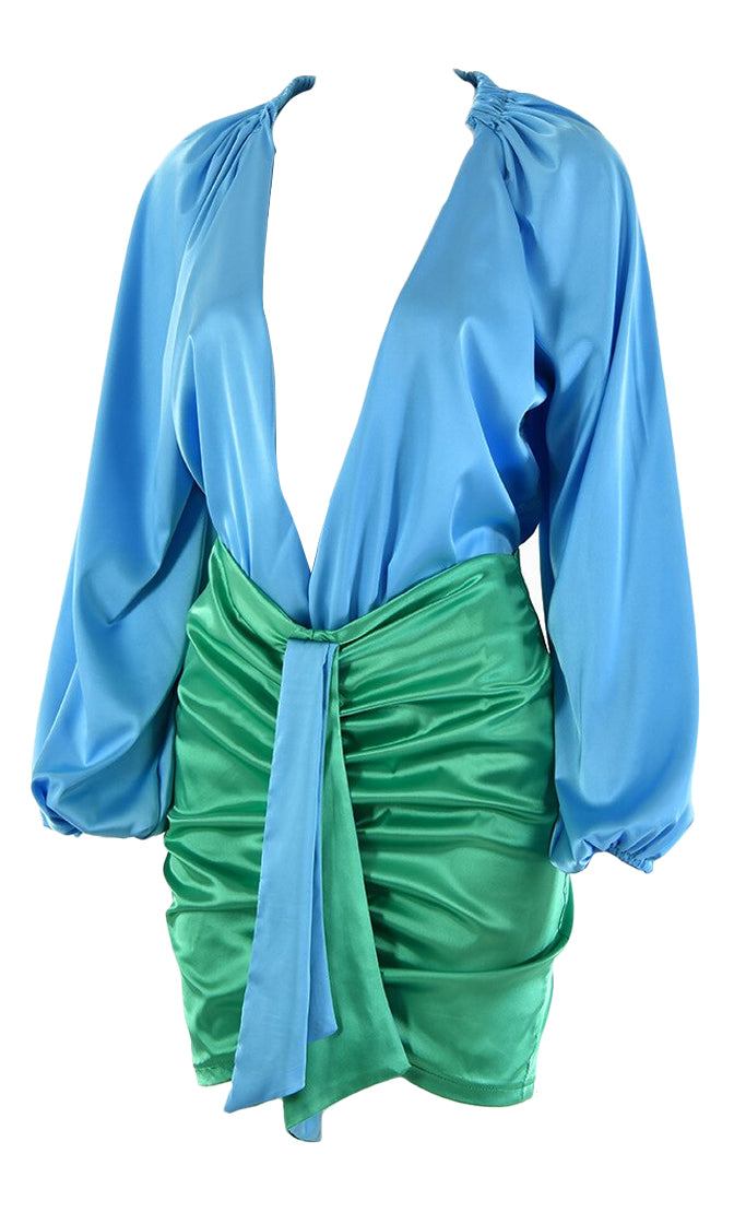 My Fantasy Blue Green Two Piece Set Long Lantern Sleeve Ruched Plunging Deep V Neck Sash Drape Bodycon Mini Dress