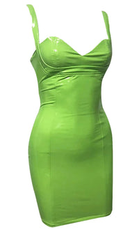 On The Bright Side Neon Green PU Faux Leather Sleeveless V Neck Bodycon Mini Dress - 2 Colors Available