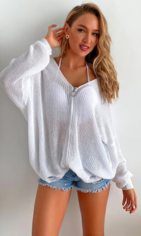 Basically Beautiful White Long Sleeve Zip Hood Cardigan Sweater