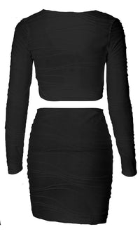 Around The Corner Geometric Pattern Long Sleeve Scoop Neck Tie Crop Top Bodycon Two Piece Mini Dress