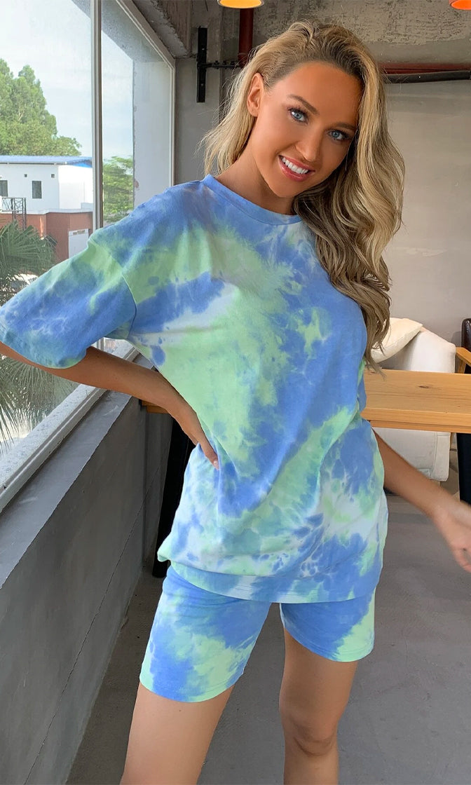 Love To Lounge Blue Green Tie Dye Pattern Short Sleeve Crew Neck Tee Shirt Biker Shorts Two Piece Romper