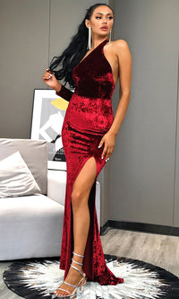 Million Dollar Baby Burgundy Crushed Velvet Long Sleeve One Shoulder Cut Out Backless Slit Leg Maxi Dress