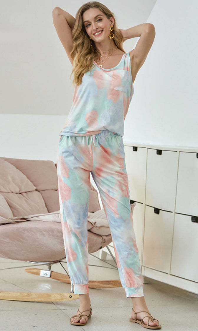 Always At Ease Pastel Multicolor Tie Dye Pattern Sleeveless Scoop Neck Tank Top Elastic Waist Jogger Pant Two Piece Loungewear Jumpsuit Set