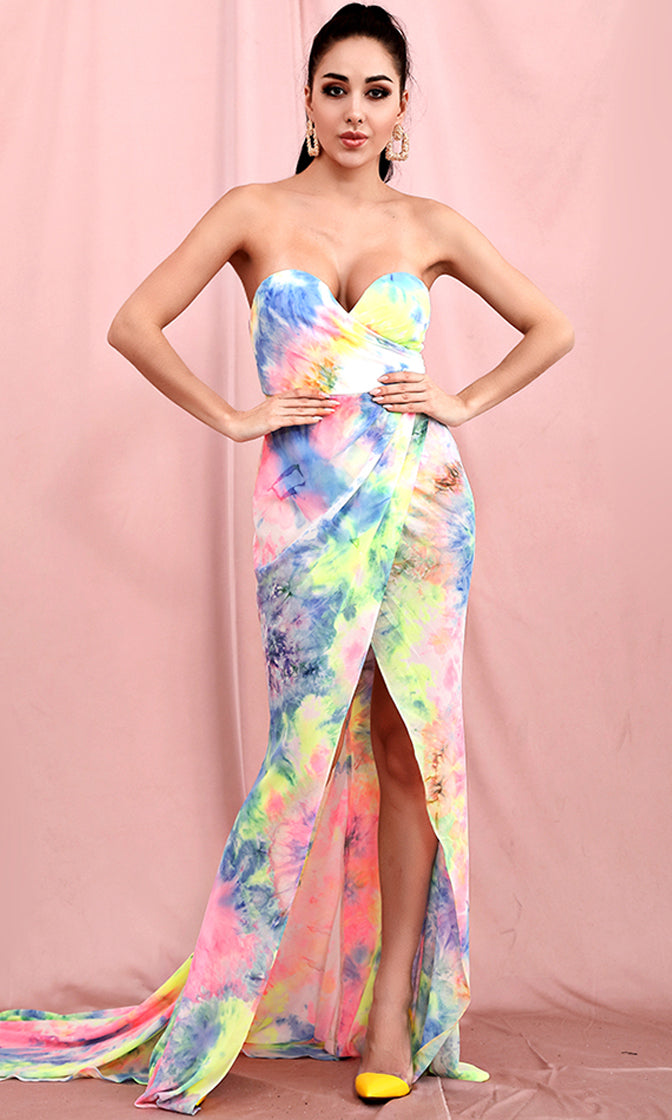 Modern Hippie Neon Multicolor Tie Dye Pattern Strapless Cross Wrap V Neck Split Front Train Maxi Dress