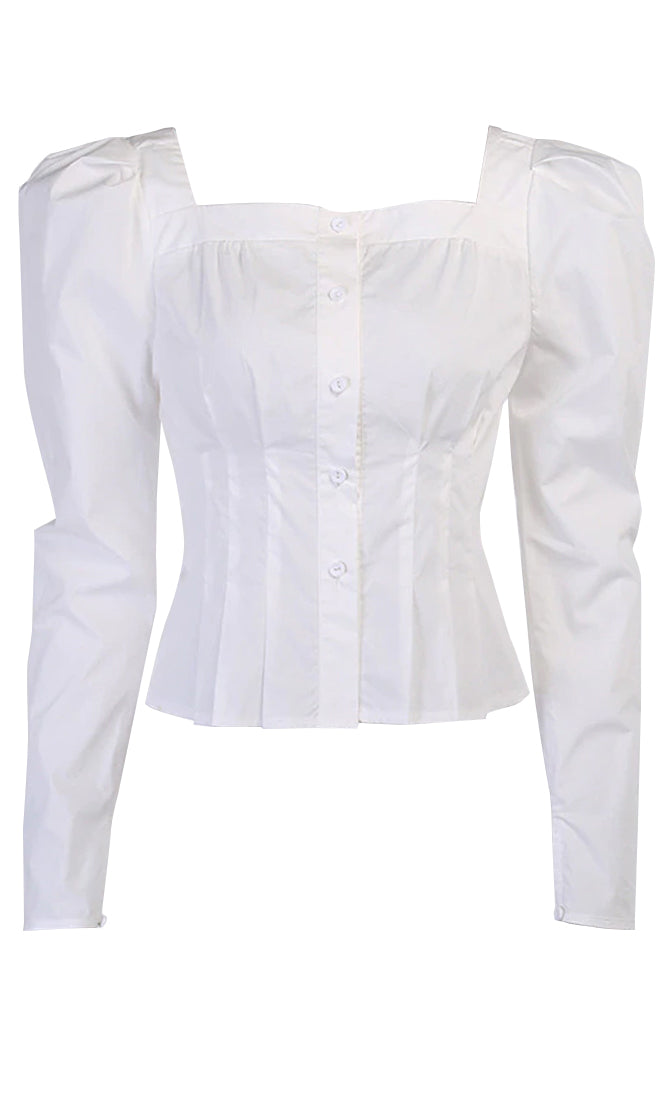 Born To Love Long Sleeve Puff Shoulder Square Neck Button Pleated Blouse
