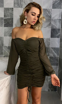 Her Desire Long Puff Sleeve Off The Shoulder V Neck Ruched Drawstring Bodycon Mini Dress