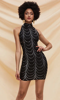 Deco Lover Sequin Geometric Pattern Sleeveless Mock Neck Bodycon Mini Dress - 2 Colors Available - Sold Out
