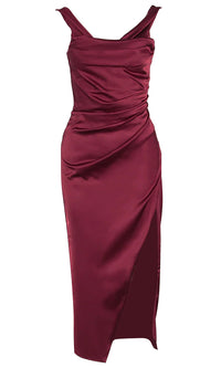 Holiday Sensation Burgundy Sleeveless Draped Side Split Bodycon Midi Dress