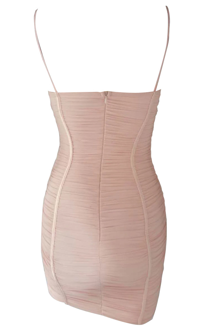 Bring Down The House Apricot Sheer Mesh Sleeveless Spaghetti Strap V Neck Bustier Ruched Bodycon Mini Dress