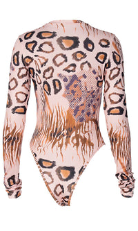 Hello Kitty Cat Brown Animal Print Long Sleeve Round Neck Bodysuit Top
