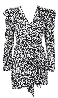 Worldwide Flirt Black White Leopard Print Animal Pattern Long Sleeve Puff Shoulder Plunge V Neck Cross Wrap Bodycon Mini Dress