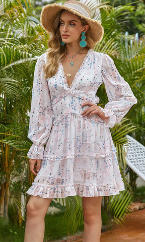 Hold Your Breath Pink Polka Dot Pattern Long Sleeve Puff Shoulder Cross Wrap Plunge V Neckline Tie Waist Ruffle Bodycon Mini Dress