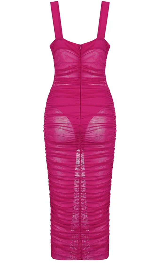 Wild Nights Fuchsia Pink Mesh Sheer Sweetheart Ruched Bustier Bandage Strapless Bodycon Maxi Dress