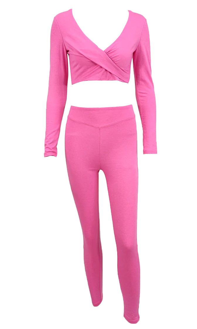 Need A Lift Long Sleeve Cross Wrap V Neck Crop Top Legging Two Piece Jumpsuit Set - 3 Colors Available