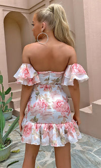 Famous For Flirting Pink Floral Pattern Short Sleeve Off The Shoulder Ruched Ruffle Bodycon Casual Mini Dress