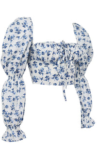 Send Me A Text White Blue Floral Pattern Long Puff Sleeve Square Neck Tie Crop Top Blouse