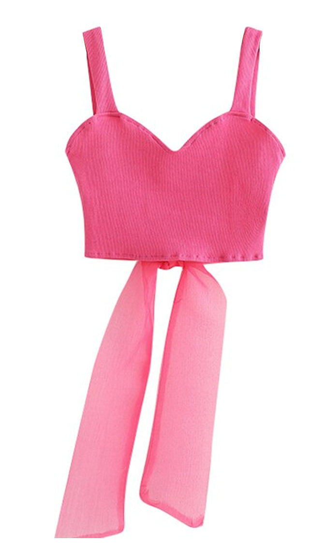 All About Tonight Fuchsia Pink Sleeveless Sweetheart Neck Sheer Mesh Bow Cut Out Back Crop Top - Sold Out
