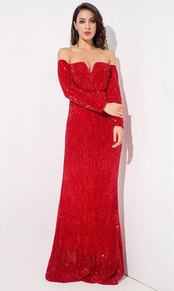 Time To Sparkle Red Sequin Long Sleeve Off The Shoulder V Neck Mermaid Maxi Dress