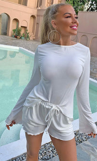 In My Own Style White Ribbed Long Sleeve Round Neck Ruffle Loose Drawstring Short Two Piece Romper