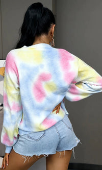 Tied Pools Multicolor Tie Dye Pattern Long Sleeve Round Neck Loose Pullover Sweater