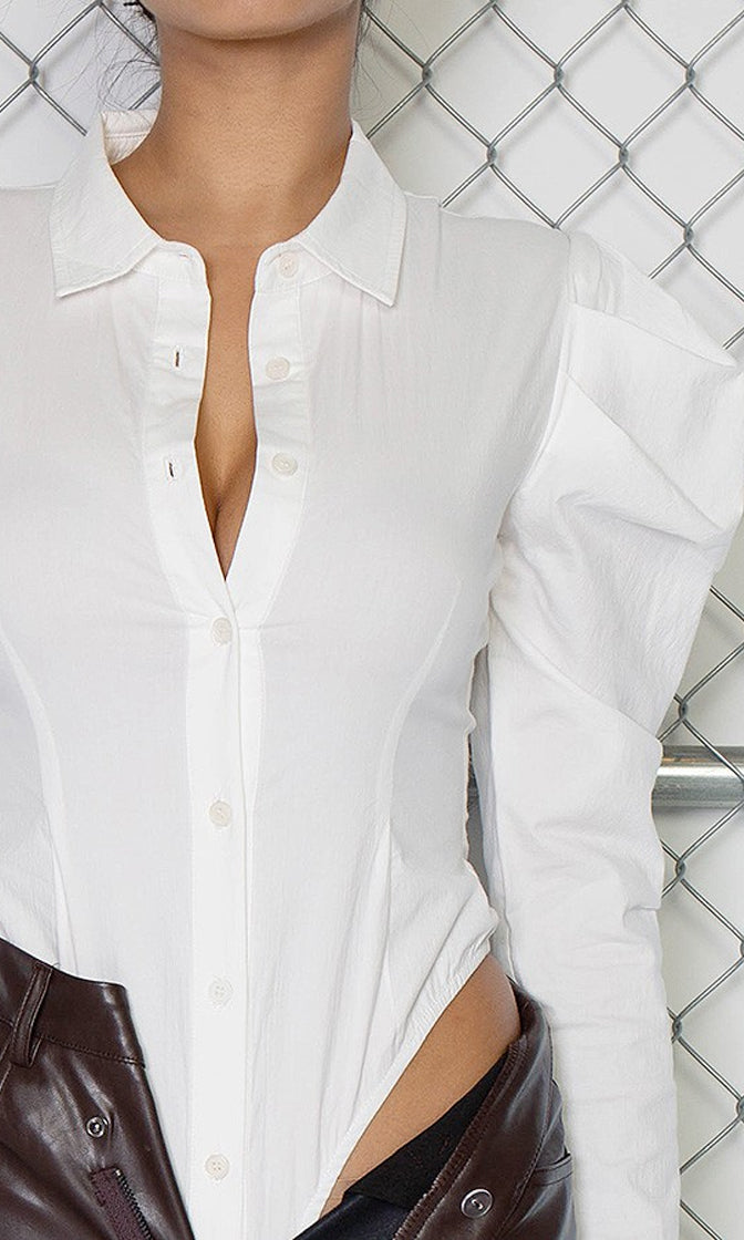 He's Yours For Now White Long Sleeve Puff Shoulder Button Blouse Bodysuit Top (Pre-Order)