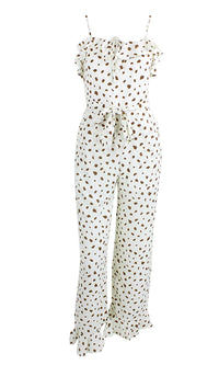Make Me Love White Brown Leopard Animal Pattern Sleeveless Spaghetti Strap Ruffle Square Neck Wide Leg Jumpsuit