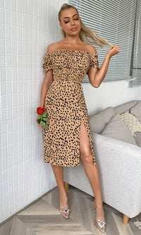 She's Confident Black Beige Leopard Print Animal Pattern Short Puff Sleeve Off The Shoulder Side Slit Casual Midi Dress