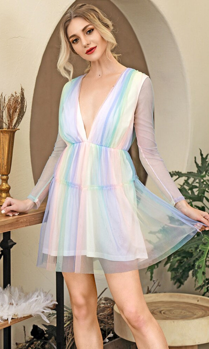 Candy Surprise Pastel Multicolor Rainbow Stripe Pattern Sheer Mesh Long Sleeve Plunge V Neck Flare A Line Mini Dress