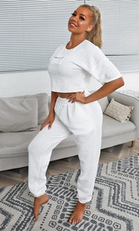 Easy As Always White Box Quilt Short Sleeve Round Neck Crop Top Drawstring Jogger Pant Two Piece Jumpsuit