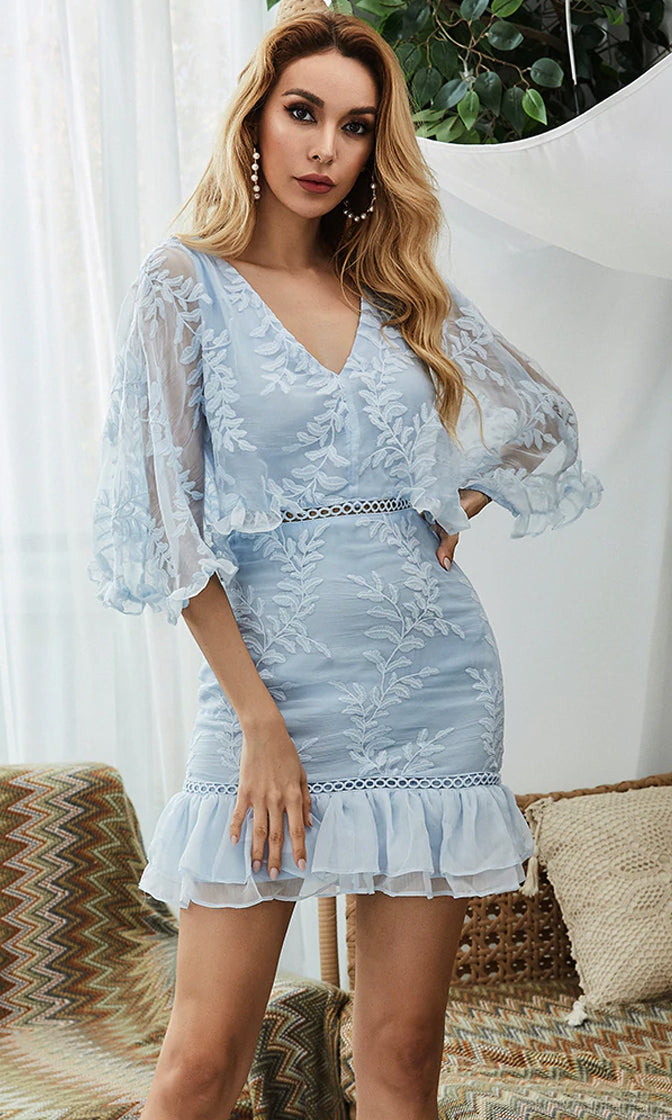 Deep Desire Light Blue Sheer Mesh Floral Embroidery 3/4 Sleeve V Neck Ruffle Bodycon Mini Dress