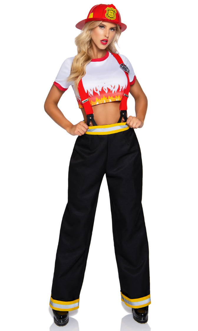 Five Alarm Fever White Red Short Sleeve Suspender Crop Top Wide Leg Pants 2 Piece Halloween Costume