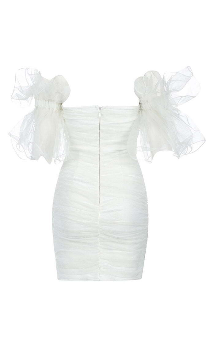 Catch Feelings White Sheer Mesh Ruffle Short Sleeve Off The Shoulder Sweetheart Neck Bandage Bodycon Mini Dress
