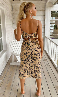 I'm Not Yours Beige Black Leopard Print Animal Pattern Sleeveless Spaghetti Strap V Neck Front Slit Bodycon Midi Dress