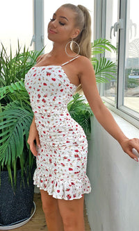 Grow And Bloom White Red Floral Pattern Sleeveless Spaghetti Strap Square Neck Ruffle Ruched Casual Bodycon Mini Dress