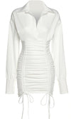 Night Prowl White Sheer Mesh Strapless Scoop Neck Ruched Bodycon Mini Dress