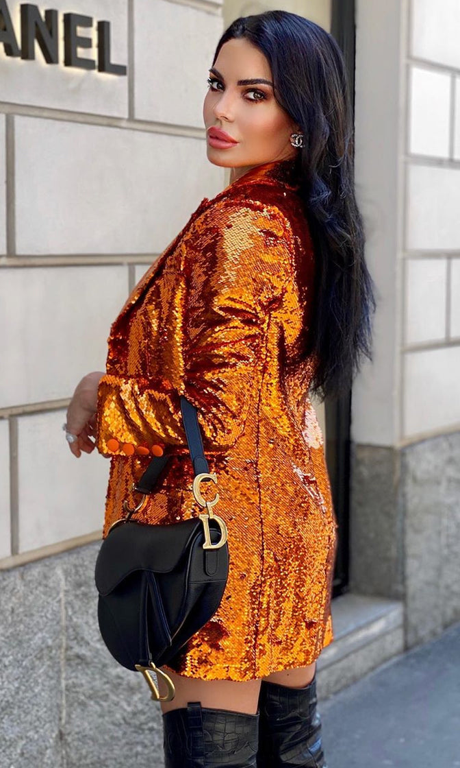 Big Dreams Orange Sequin Long Sleeve Blazer Jacket Outerwear