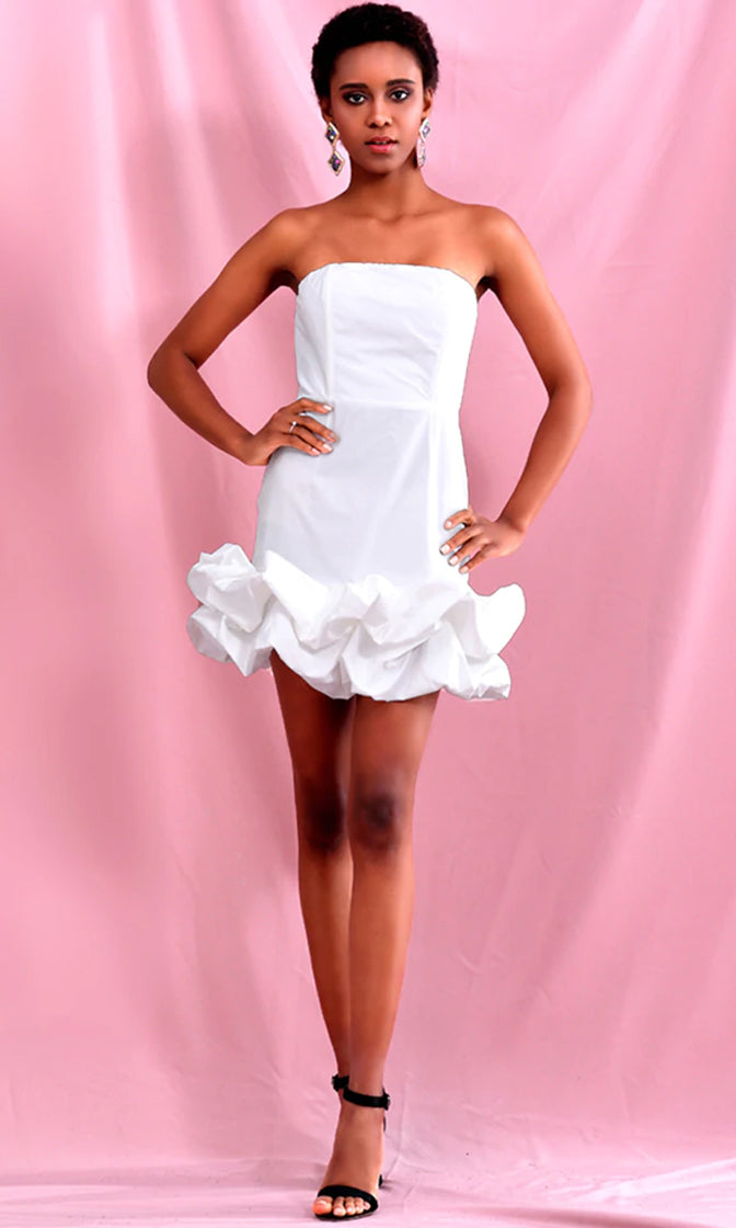 Flirting With The World White Strapless Ruffle Bodycon Mini Dress
