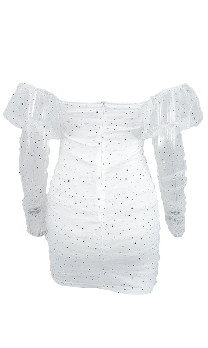 Day Of Beauty White Sheer Mesh Puff Long Sleeve Off The Shoulder V Neck Sequin Bodycon Mini Dress