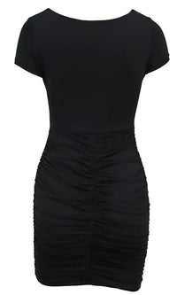 Instant Mood Lifter Short Sleeve V Neck Ruched Cut Out Waist Bodycon Mini Dress