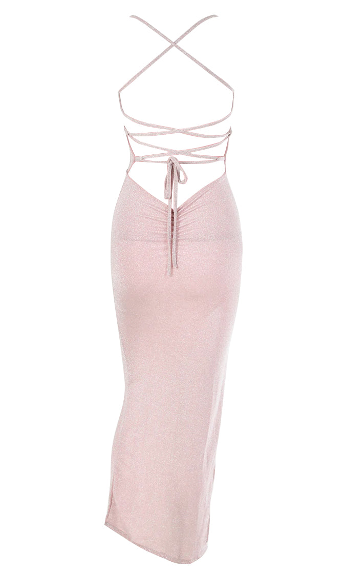 Cold Stare Pink Glitter Sparkle Sleeveless Crisscross Spaghetti Strap Square Neck Backless High Slit Bodycon Maxi Dress - 4 Colors Available