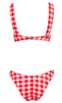 Malibu Barbie Red Black Gingham Plaid Pattern Sleeveless Ruffle Tie Front Brazilian Two Piece Bikini Swimsuit - 3 Colors Available