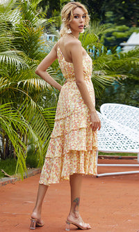 Rosy And Sweet Yellow Floral Pattern Sleeveless One Shoulder Asymmetric Tier Ruffle A Line Casual Midi Dress