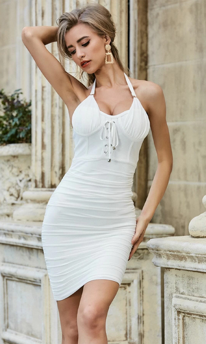 Step To The Side White Sheer Mesh Sleeveless Halter Sweetheart Neck Lace Up Ruched Bodycon Mini Dress