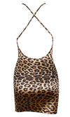 I'm A Savage Leopard Print Animal Pattern Sleeveless Backless Spaghetti Strap Sweetheart Neck Bodycon Mini Dress