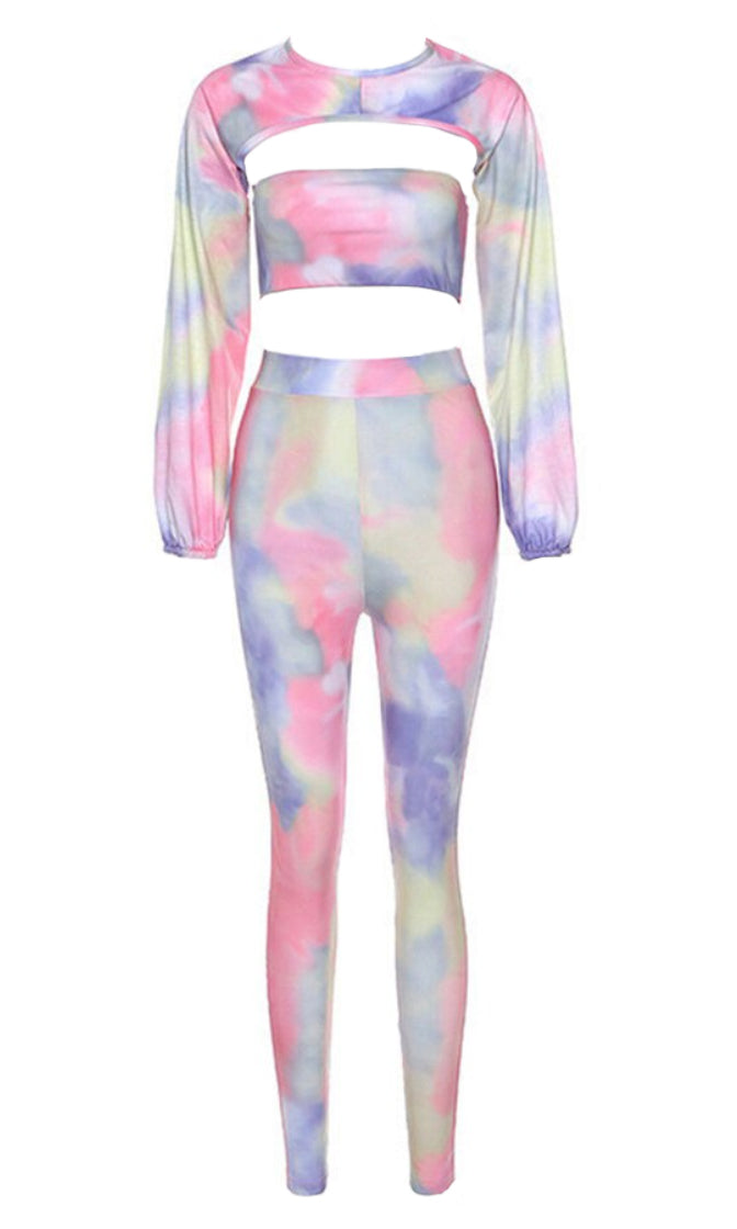 Young And Carefree Pastel Tie Dye Long Sleeve Mock Neck Crop Bandeau Top Cut Out High Waist Legging Three Piece Jumpsuit Set
