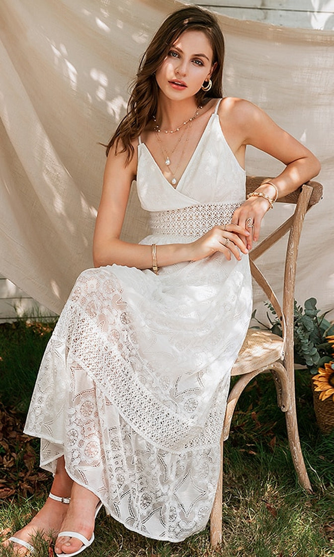 Chart A Course White Lace Sleeveless Spaghetti Strap Cross Wrap V Neck A Line Casual Maxi Dress
